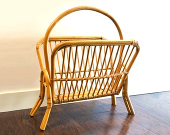 Vintage Bamboo Magazine Rack Holder, Grass or Wicker Binded edges, Boho Jungalow Decor