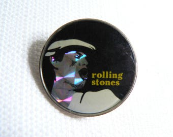 Vintage Early 80s Rolling Stones - Mick Jagger - Prism Style Pin / Button / Badge