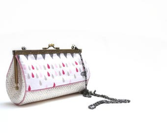 bag retro shoulder white and pink raindrops