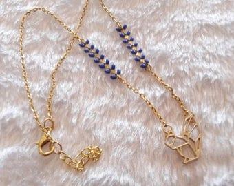 Gold blue origami squirrel necklace