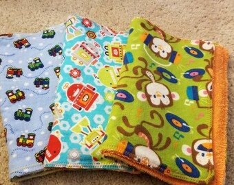 Set of 3 Handmade burp clothes