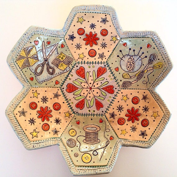 Handmade Ceramic Patchwork/Applique Patterned Bowl, quilting, stitching, textiles