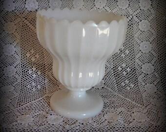 Large Vintage Milk Glass Vase, 8 in. Tall. 7 in. Diameter.