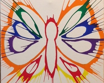 Butterfly spin-art design on canvas