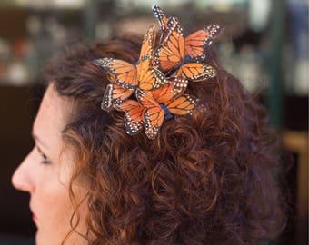 Butterfly hair clips hair clip hair accessory, summer, hair clip, butterfly accessory, orange, crocodile clip, summer clip, summer, monarca
