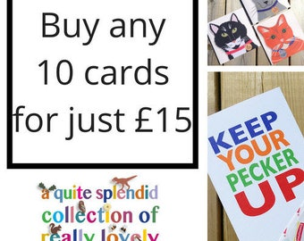Assorted Greeting Cards, Choose any 10 Greetings Cards, Set Of Ten Mix and Match Greeting Cards
