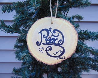 hand painted wooden Christmas ornament Peace
