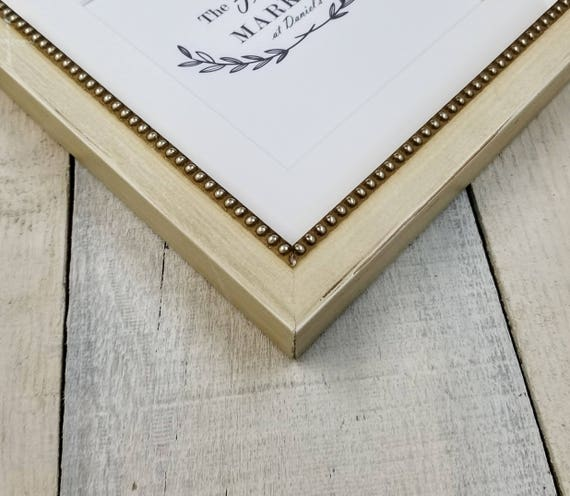 Mina Bead Rustic White Wood Picture Frame With White Mat