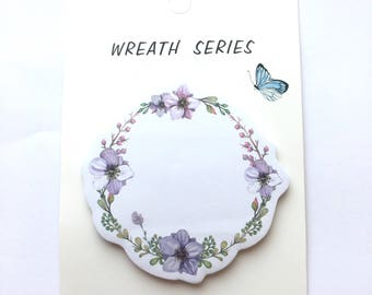 Lilac wreath memo pad