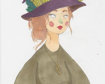 Little witch to cacti - original drawing