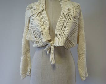Open-work knitted off-white linen cardigan, M size.