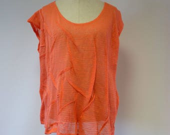 Summer transparent orange linen blouse, XL size.