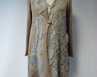 Reserved for Maggie. Winter sale. Artsy boho camel wool cardigan, L/XL size. Only one sample.