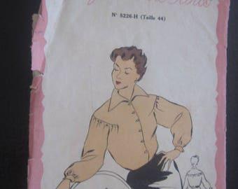 Vintage French lingerie blouse,dress pattern,sewing pattern, Patron Model de Marie-claire élégance de Paris mannequin size 44-fashion France