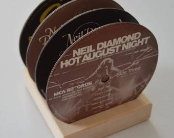 4 vintage neil diamond record vinyl label drink coasters with wooden base