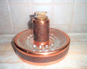 Vintage Coppercraft Guild lighter and Ashtray