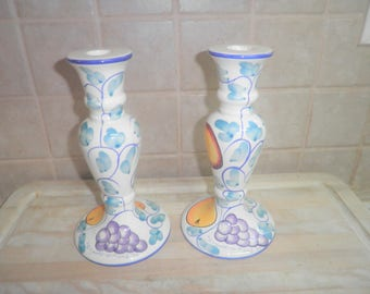 Vintage Wang's International Inc 8 1/2 inche ceramic candle stick holders