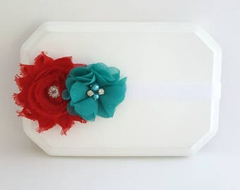 Red and Teal Headband, Red Headband, Teal Baby Headband, Newborn Headband, Teal And Red Hair Bow, Teal Flower Bows, Girl's Teal Headband