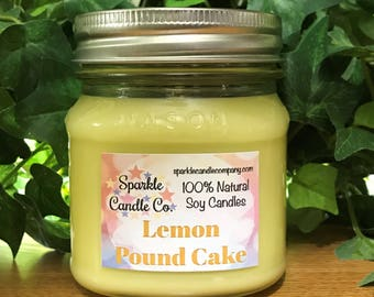 Soy Candle - LEMON POUND CAKE Scented Candle - Homemade Candle - Hand Poured Candle