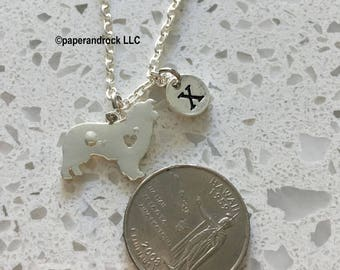 KIDS SIZE - Collie initial necklace, collie dog jewelry, sheltie jewelry, dog breed, dog initial necklace, sheltie necklace, collie necklace