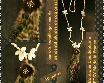 Necklace pendant shells grizzly Rooster feathers