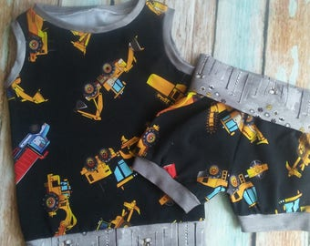Toddler Boys Tanktop and Shorts set   Fold over shorts   Summer clothes   2T 3T 4T 5T   Trucks