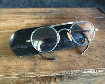 Vintage Bausch and Lomb round safety glasses with case