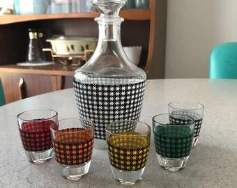 Vintage Houndstooth Decanter and Shot Glass Set