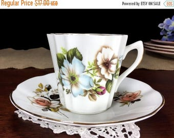 Floral Teacup and Saucer, Royal Dover Tea Cup, Made in England