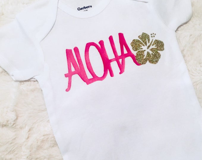 Aloha Pink & Gold Glitter Baby Onesies®, Baby Bodysuit, Hawaii Baby, Island Baby, Surfer Girl, Beach Baby, Hibiscus, Baby Romper, Baby Gift
