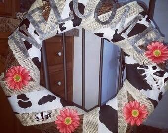 Moo Cow Welcome wreath
