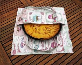 sac a tarte, pie bag, picnic bag, picnic, food bag, lunch bag, cake bag, pink pie bag, cupcakes