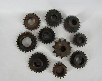 Lot of 10 Vintage Industrial Machine Age Steel/Cast Gears Steampunk Art Project