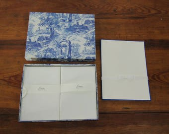 Crane note paper stationary blue toile design