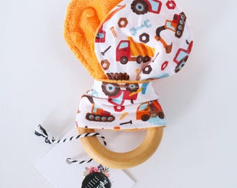 Construction Site Wooden Teether // Minky Backed // Wooden Teether // Machine Washable Fabric // Baby Teether Toy // Wooden Toy