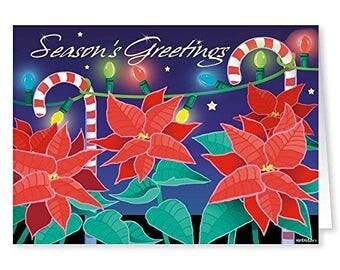 Poinsettia Theme Christmas Card - 18 Cards & Envelopes - RKX38