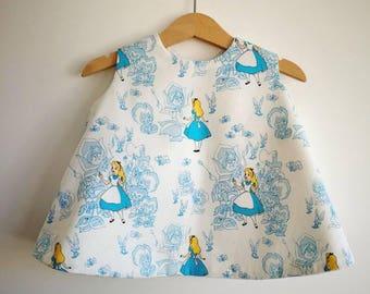 "Girls baby toddler reversible pinafore ""Alice in wonderland"" with swan lake Ballerinas baby girls clothes"