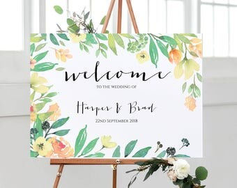 A3 landscape Tuscan floral Welcome Wedding Sign -Unbacked/Unframed-FREE UK POSTAGE