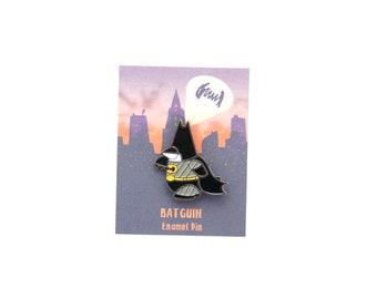 Batguin soft enamel pin. 2.5cm superhero pin badge.