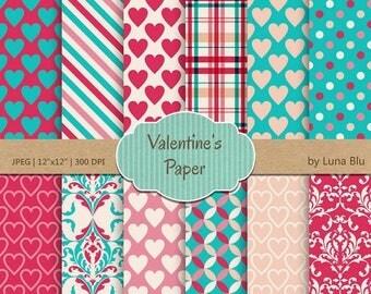 "SALE 50%OFF Valentine Digital Paper: "" Valentine Paper"" turquoise, pink and peach love digital paper, valentine scrapbook paper"