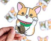 Lucky Corgi Vinyl Sticker, Corgi Stickers, Year of the Dog, Vinyl Sticker, Dog Vinyl Sticker, Dog Stickers, Laptop Sticker
