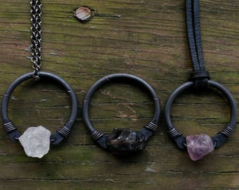 Amethyst & Copper Hoop Necklace // Small Black Copper Purple Stone Circle Necklace // Rustic Copper Hoop Gemstone Necklace  // Gifts For Her