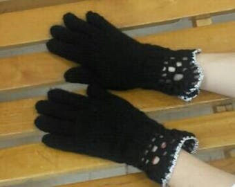 Black wool gloves knitted crocheted handmade for women gloves with fingers winter wormers soft gloves
