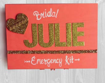 Bridal Emergency Kit - Hand Painted Monogrammed Bridal Box. Personalized Bridal Gifts. Bridal Shower Gift.