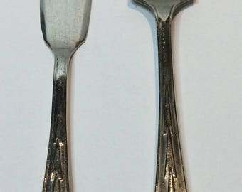 EPNS Serving Knife and Spoon VINTAGE Silverware Art Deco Style