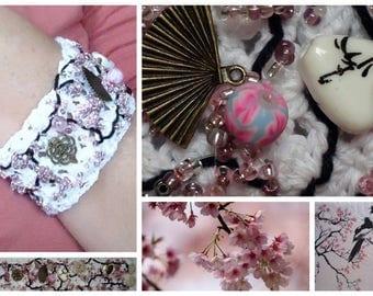 SAKURA cherry blossom Cuff Bracelet