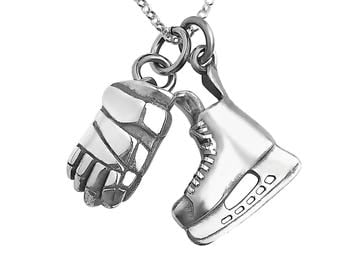 Sterling Silver Hockey Skate and  Glove Necklace, Ice Hockey Jewelry,Hockey Gift, Birthday Present, Hockey Skate, Hockey Player Gift