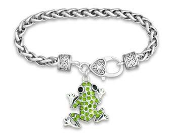 Green Frog Rhinestone Charm Bracelet