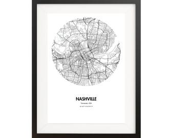 Nashville Map Poster - 18 by 24 inch Map Print
