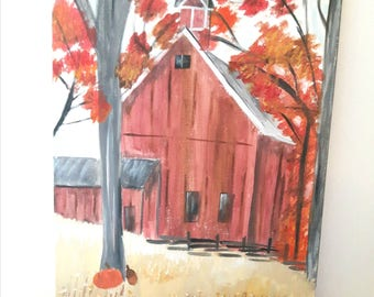 Country scene, autumn landscape, artwork on canvas